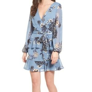 NEW LOVE FIRE WRAP RUFFLED FLORAL CHIFFON DRESS
